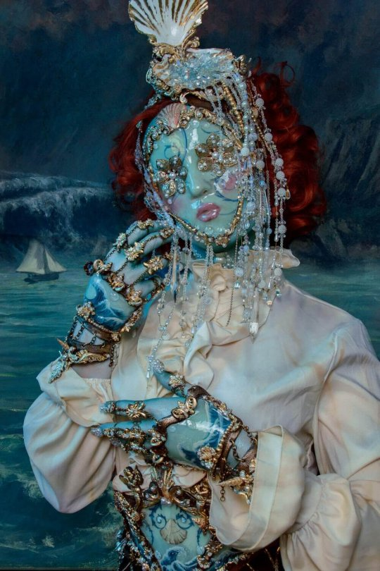 watery baroque faux porcelain couture