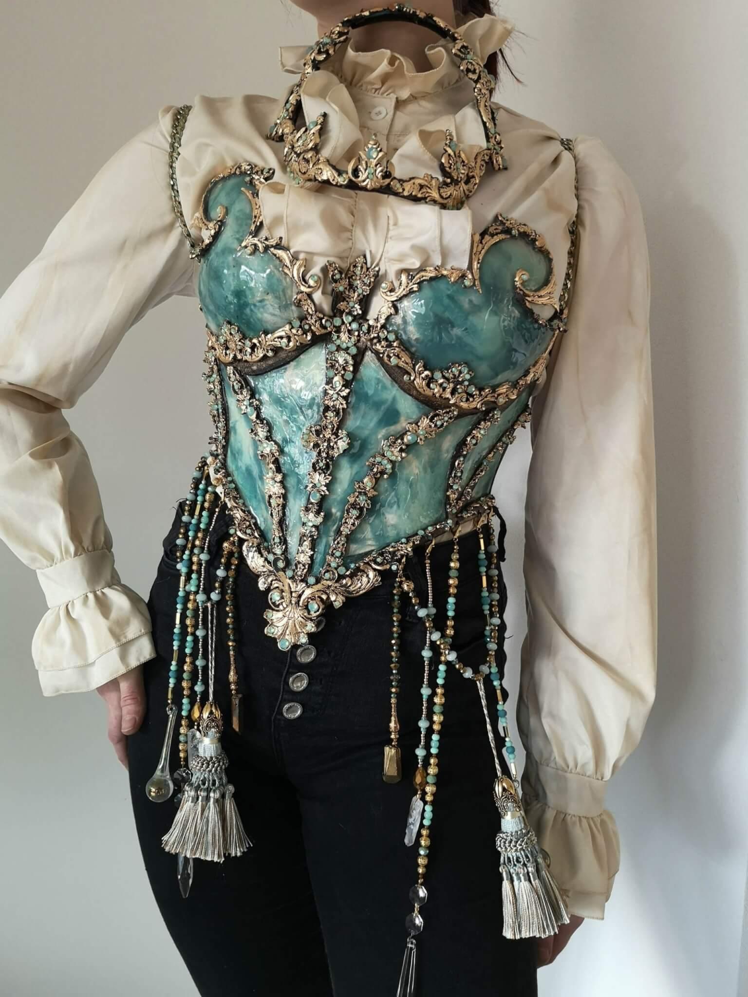 blue crystal corset