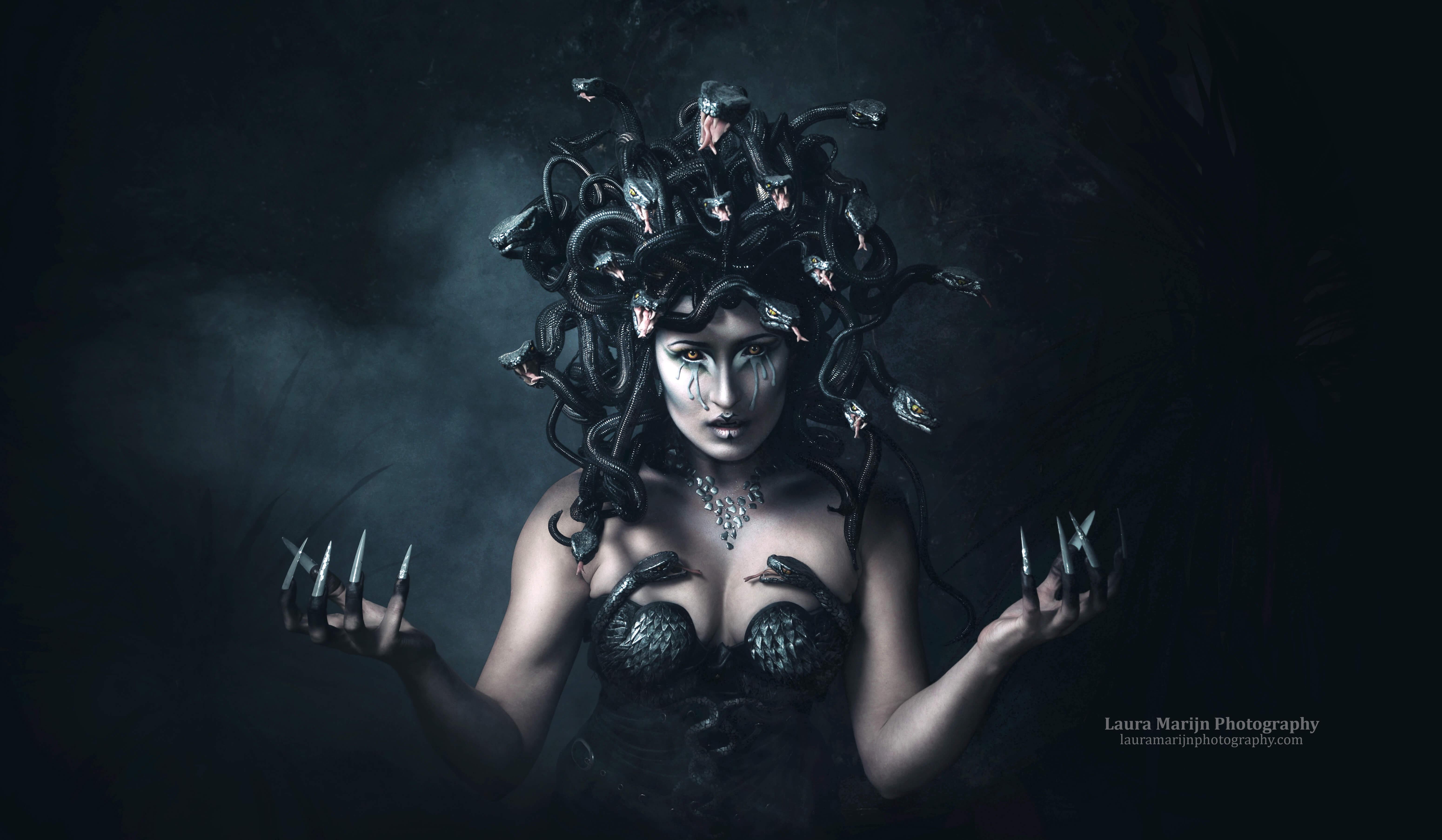Medusa make-up and headdress by candy makeup artist