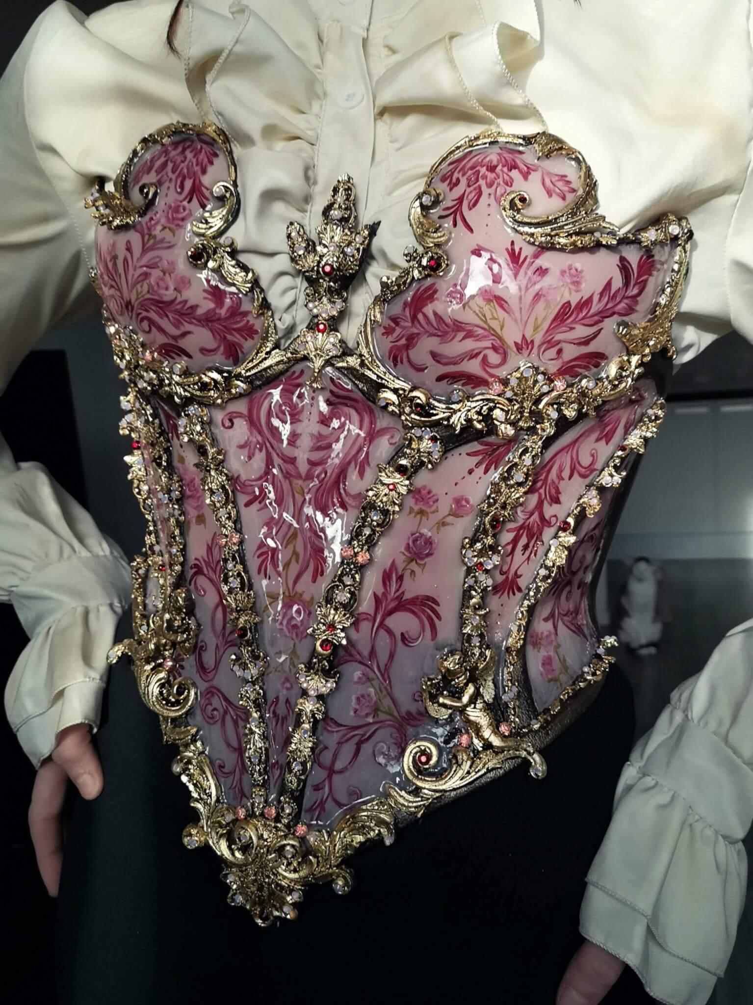 pink porcelain corset