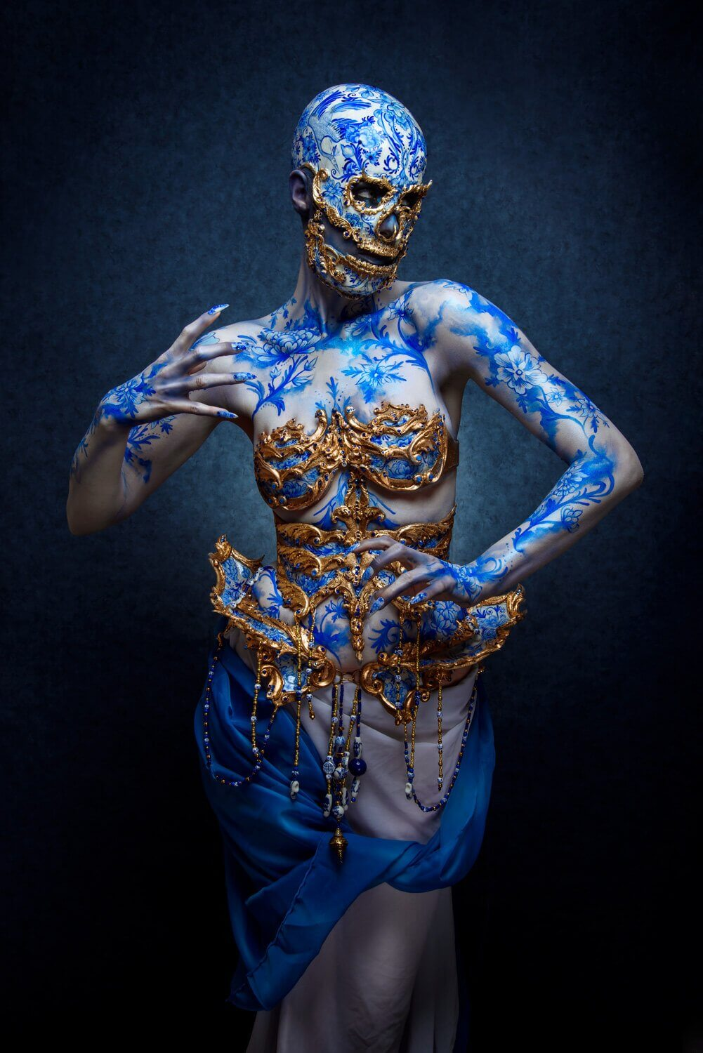 faux porcelain delft blue skull couture by candy makeup artist