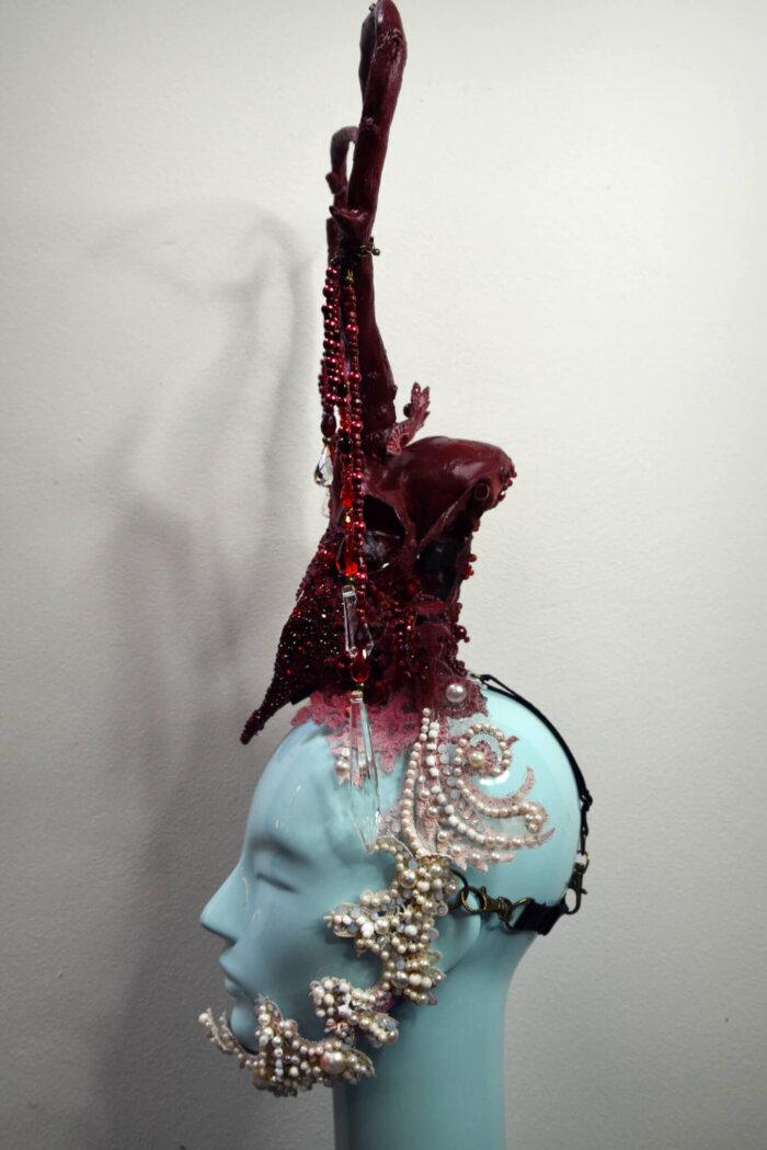 valentine skull headdress - candy makeup artist