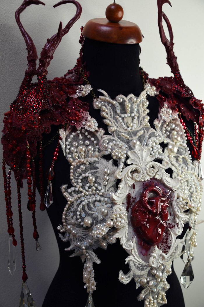 valentine skull chestpiece - candy makeup artist