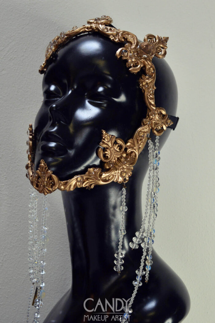 baroque mask with beading - candy makeup artist